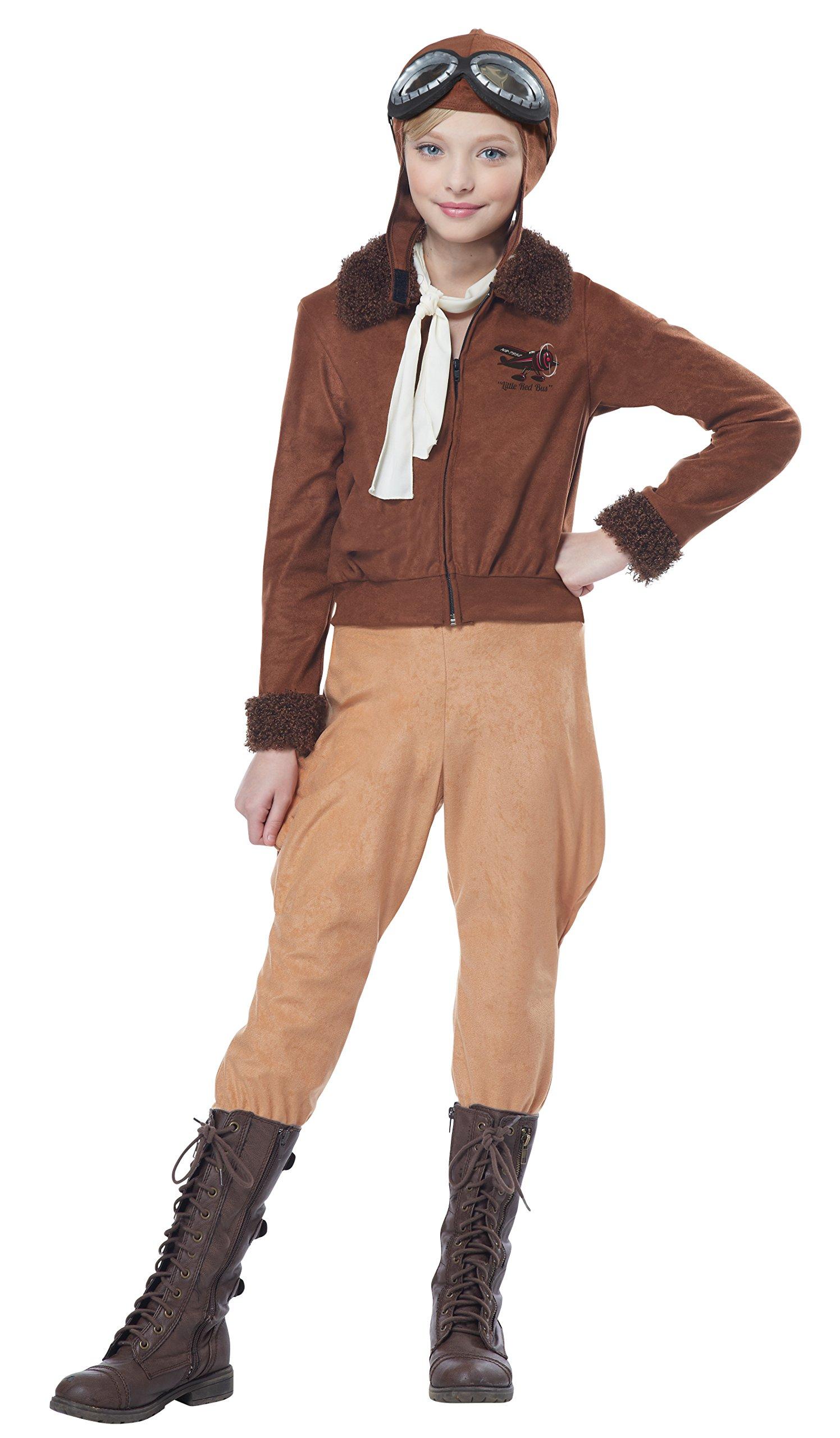 California Costumes Amelia Earhart/Aviator Costume, Medium, Brown