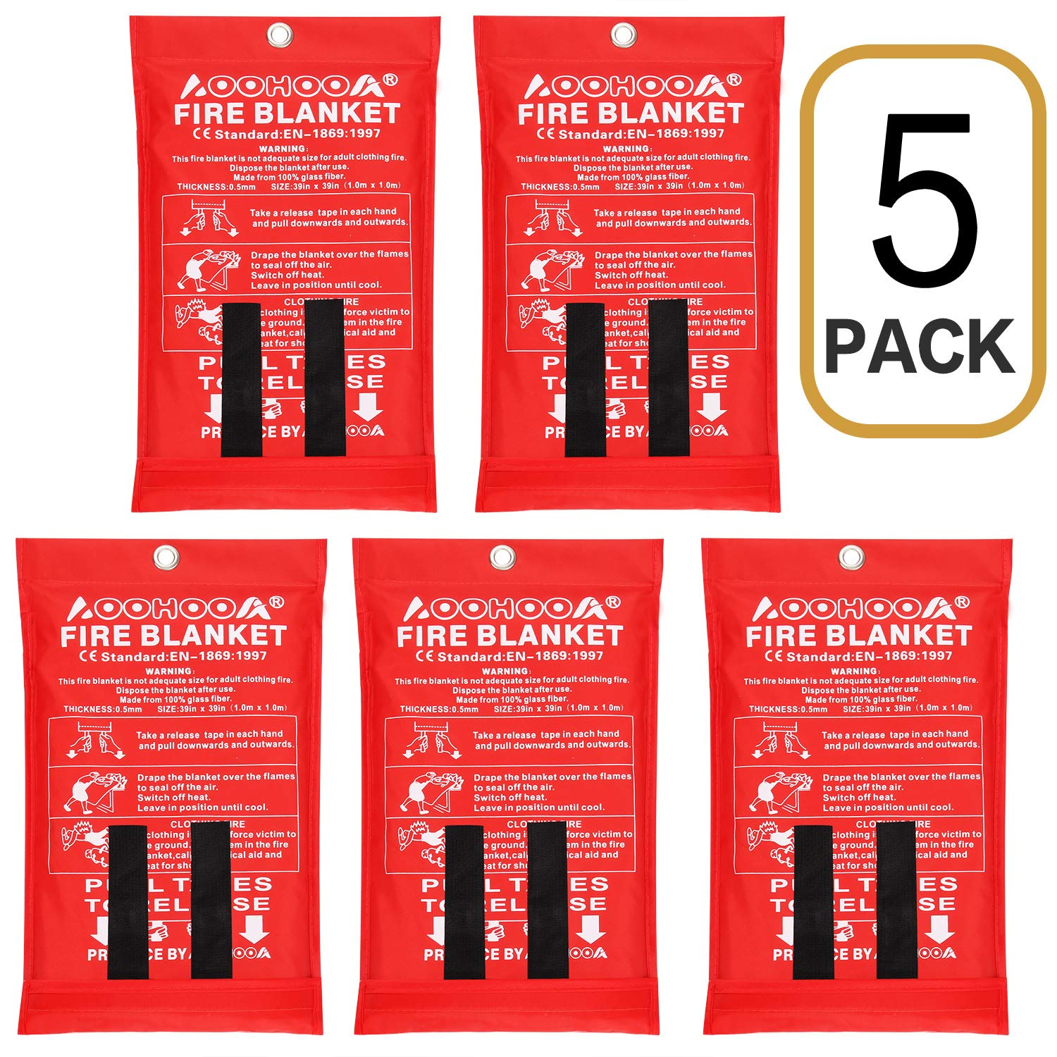 AOOHOOA Fiberglass Emergency Fire Blanket for Kitchen,Camping,Fireplace,Grill,Car,RV,Boat and so on