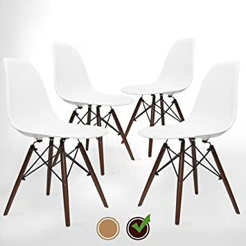 UrbanMod Eames Style Modern Dining Armless Side Chairs (Set Of 4) Walnut  Legs |