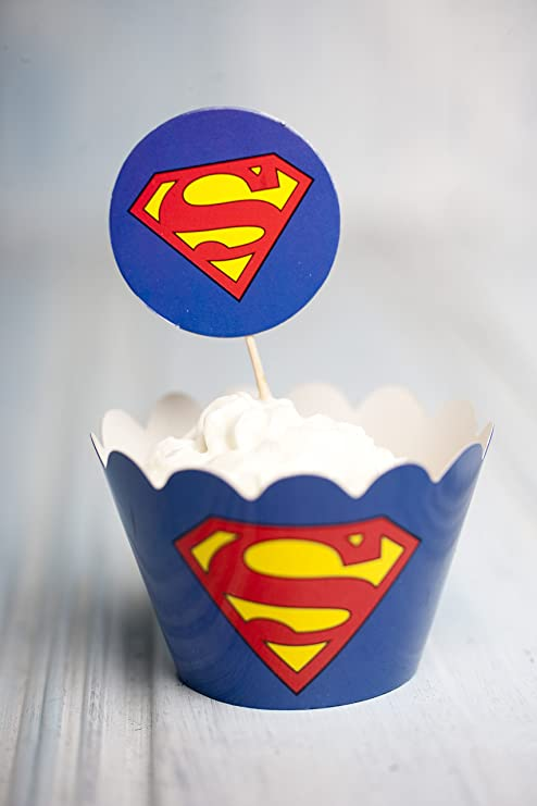 Magdalenas 12 x Superman Decoración Cup Cake Topper y ...