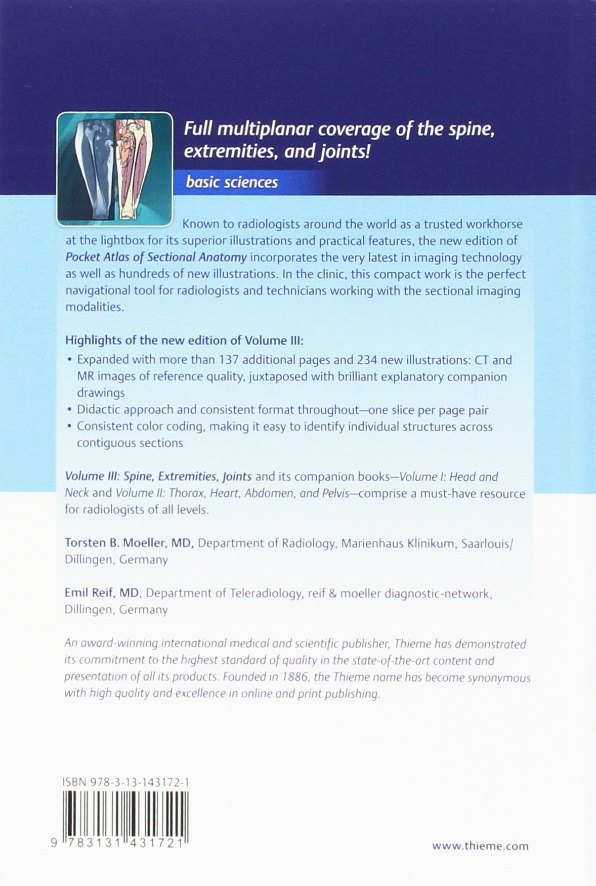 Pocket Atlas Of Sectional Anatomy Spine Extremities Joints Volume