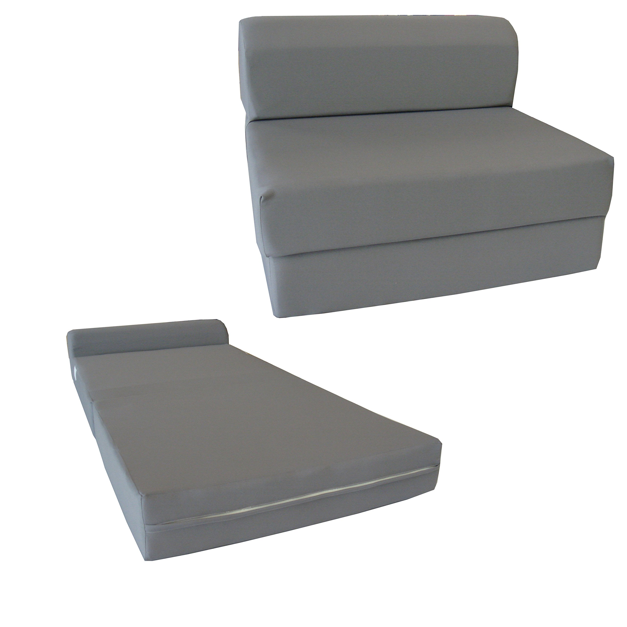 D&D Futon Furniture Gray Sleeper Chair Folding Foam Bed 6 x 48 x 72 inches, Studio Guest Beds, Sofa. by D&D Futon Furniture