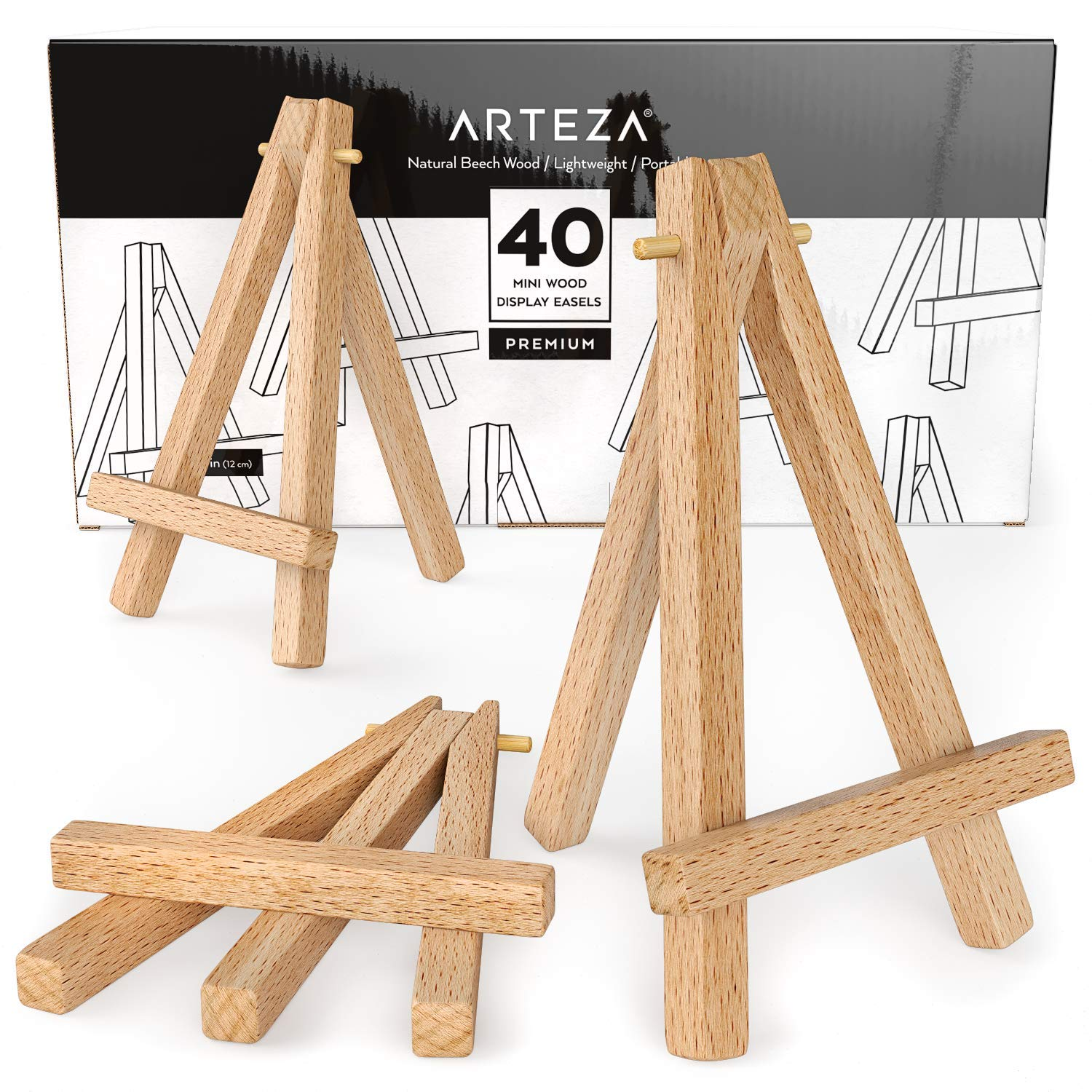 ARTEZA Mini Wood Display Easel, 5'', Pack of 40, Ideal for Displaying Small Canvases, Business Cards, Photos