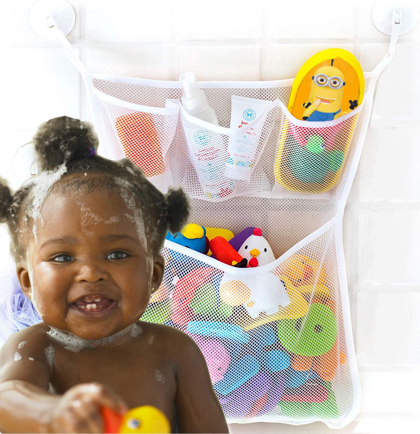 Bath Toy Organizer, Extra Durable Washable and Quick Dry Bathroom Toy Storage Basket, Tub Toy Net Holder, Baby Bathtub Toy Organizer with 2 Suction Cup Hooks, Mesh Bath Toy Bag, Cute Baby Shower Gift