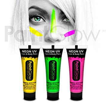Paint Glow UV Neon Face and Body Paint 10 ml - Pack of 3  Amazon.co.uk   Beauty b56cb65876