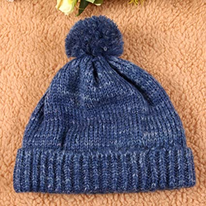 5feceae473c Amazon.com  Super Warm Winter Thick Slouchy Snappy Beanie Knit Cap Hat Fold  Lined (Navy Blue)  Clothing