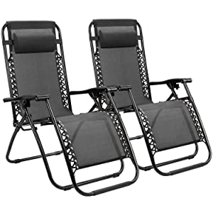 Homall Zero Gravity Chair Adjustable Folding Lawn Lounge Chairs Outdoor Lounge Gravity Chair Camp Reclining Lounge Chair with Pillows for Poolside Backyard and Beach Set of 2 (Black)