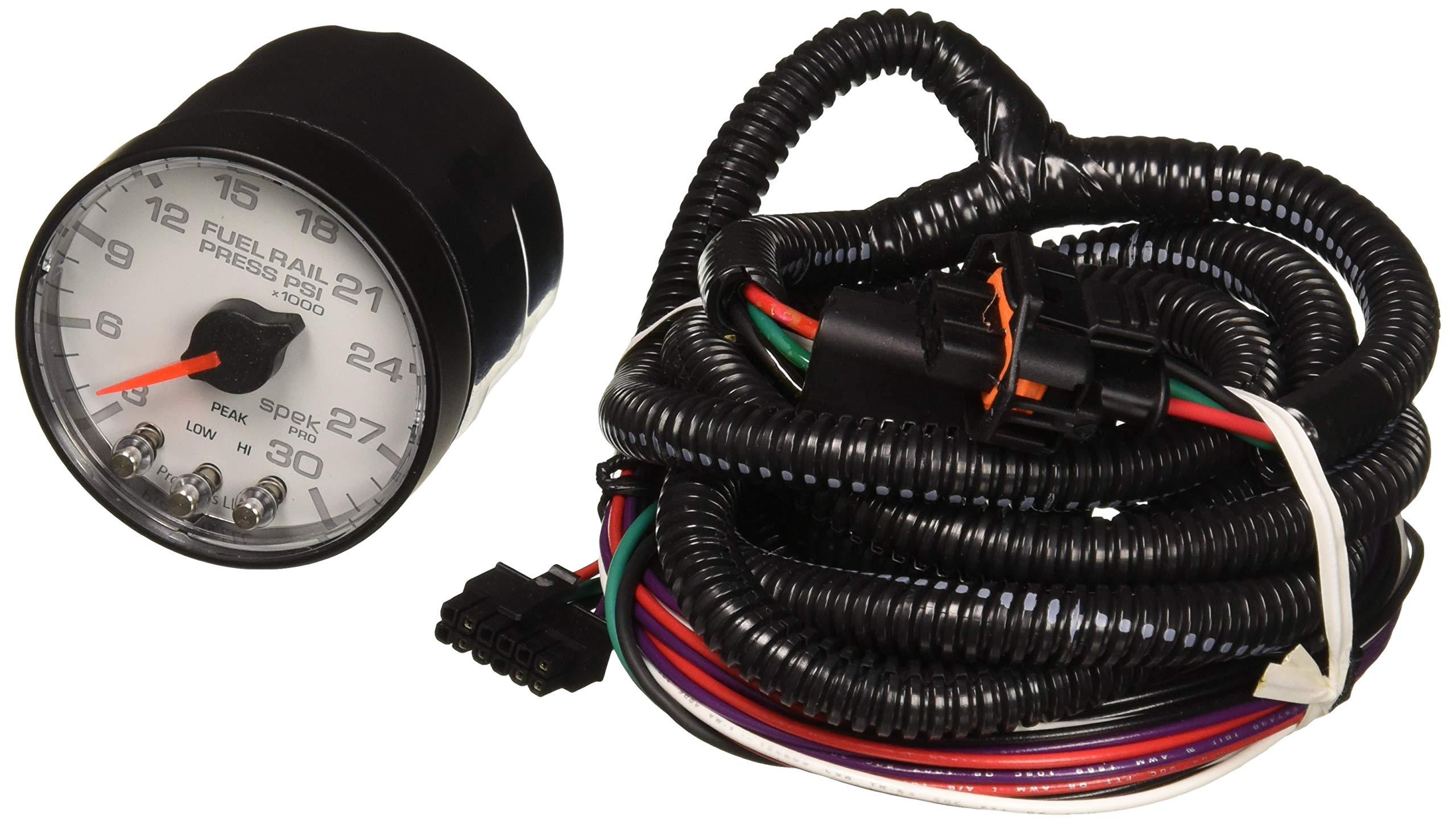 Auto Meter AutoMeter P321128 Gauge, Rail Press, 2 1/16'', 30Kpsi, Stepper Motor W/Peak & Warn, Wht/Blk, Spek-Pro