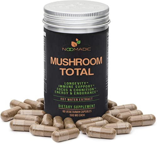 Mushroom Total, 60 Capsules, 500mg, Mushroom Blend of Lions Mane, Turkey Tail, Chaga, Reishi, Cordyceps, Hot Water Extract, Fruiting Bodies, 30 Beta-D-Glucans, Natural Immune System Support