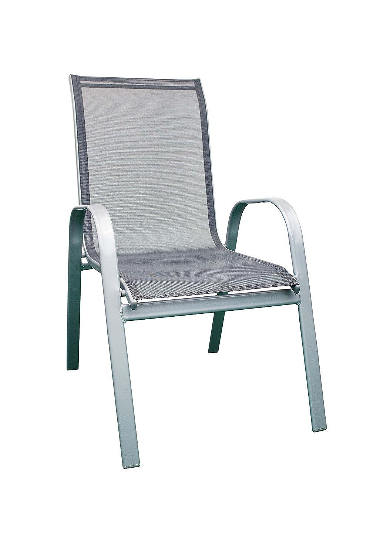 AVANTI TRENDSTORE - Fioni - Sedia da giardino impilabile grigia, con braccioli e sostegno in metallo di colore argento, dimensioni: LAP 55x96x72 cm