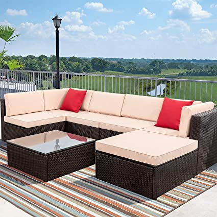 Devoko 7 Pieces Patio Furniture Sets All-Weather Outdoor Sectional Sofa Manual Weaving Wicker Rattan Patio Conversation Set with Cushion and Glass ...