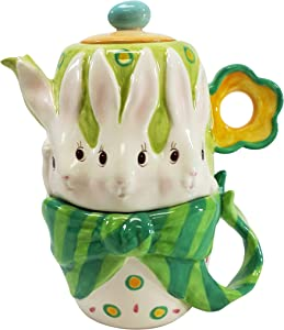 Cosmos Gifts Bunny Rabbit Ceramic Teapot, 6-5/8-Inch, Service for 1