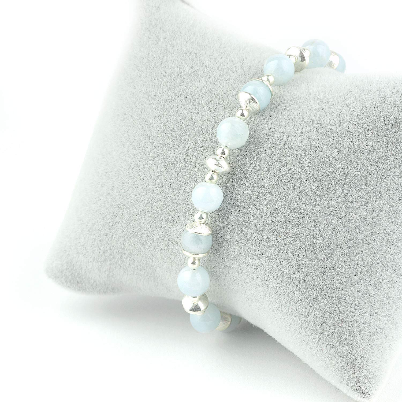 "Naturalbrazil aquamarine gemstone6mm beads necklace 19/""-Handmade UK seller"