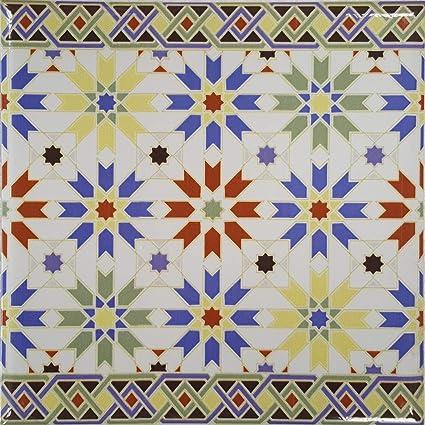 Casa Moro Nador Bordure De Carrelage Marocaine Avec Motif Mosaique 20 X 20 Cm Fl7092 Amazon Fr Bricolage