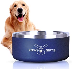 XDW-GIFTS Stainless-Steel Double-Wall Non-Skid Non-Spill Dog-Bowl - 8 inch 64 oz Heavyweight Pet Dish Food/Water Feeder for Small to Large Dogs Cats and Pets Gift Idea