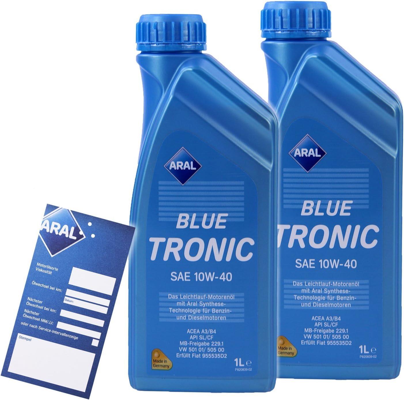 2x 1 L Liter Aral Bluetronic Blue Tronic 10w 40 Motor Öl Motoren Öl 32005355 Auto