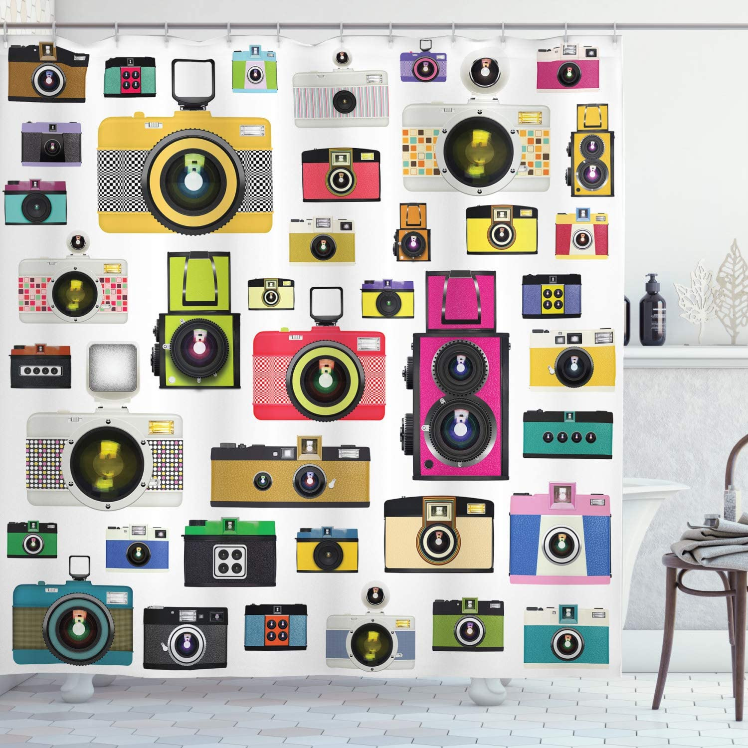 """Ambesonne Vintage Shower Curtain, Vintage Old Fashioned Photo Cameras Hobby Studio Themed Graphic Design, Cloth Fabric Bathroom Decor Set with Hooks, 70"""" Long, Pink White"""