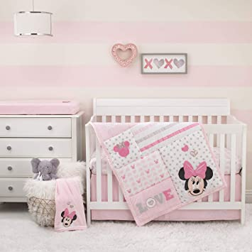 Baby Crib Bedding 4 Piece Comforter Sheet Set Minnie Mouse Pink for Girls Kids