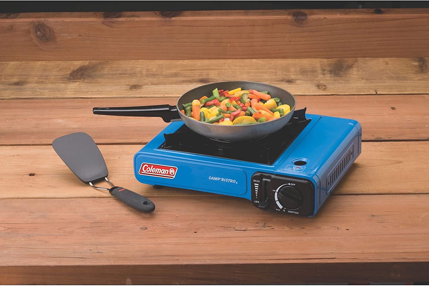 camp stove cooking breakfast sunny side up