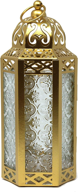 Vela Lanterns Gold Moroccan Style Lantern, Medium, Clear Glass