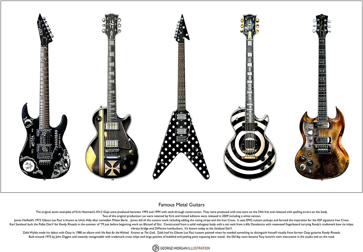 "GUITAR PRINT FAMOUS GUITARS /""GIBSON LES PAUL CUSTOM/"" AND A BRIEF HISTORY GIFT"