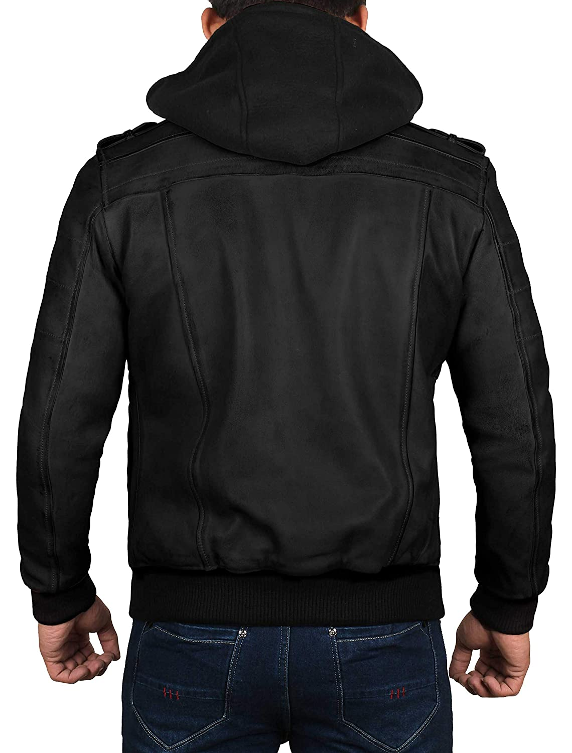 d29703aea7c Leather Bomber Jackets for Men - Black   Brown Leather Jacket with Hood