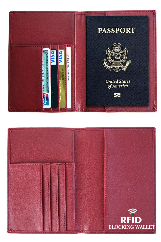 Espace Pour 4 Emplacements Pour Cartes Hommes et Femmes Couverture Passeport en Cuir Avec Protection RFID