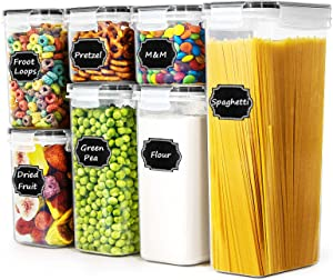 Airtight Cereal Storage Containers - Paincco Food Storage Containers Set of 7 for Flour and Baking Supplies, Leak Proof & BPA Free Kitchen Pantry Organization