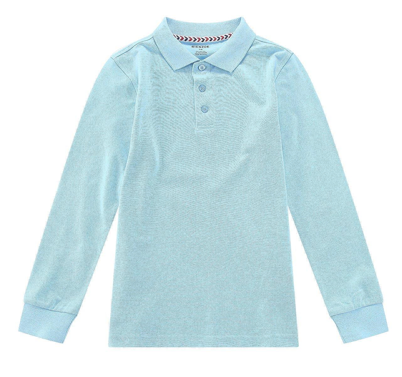 2a3f9f115 Bienzoe Boy's School Uniform Antimicrobial Breathable Quick Dry Long Sleeve  Polo: Amazon.co.uk: Clothing