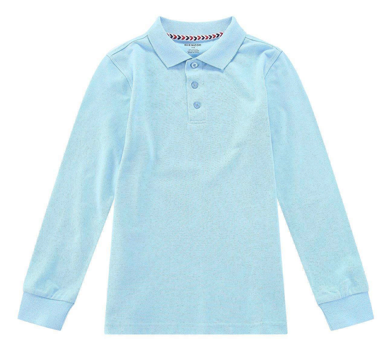 Bienzoe Boy's School Uniform Antimicrobial Breathable Quick Dry Long Sleeve Polo Blue 10/12