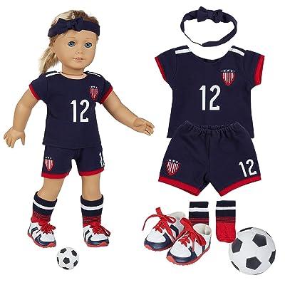 "18 Inch Doll Clothes(Team USA 6 Piece Soccer Uniform,Inchudes Shirt,Shorts,Socks,Headwear,Football,Shoes,Fits 18"" American Girl Dolls): Toys & Games"