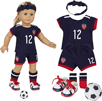 Amazon.com: fundolls 18 Inch Doll Clothes - Team USA 6 Piece Soccer Uniform  Clothes, Includes Shirt, Shorts, Socks, Headband, Football,Shoes Fits  American Girl Doll, Our Generation Doll: Toys & Games