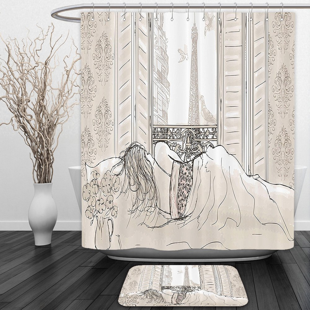 Vipsung Shower Curtain And Ground MatParis Decor Parisian Woman Sleeping with the View of Eiffiel Tower from Window Romance Skecthy Modern Art CreamShower Curtain Set with Bath Mats Rugs