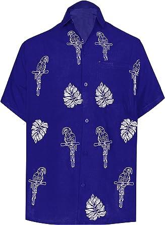 LA LEELA Casual Hawaiana Camisa para Hombre Señores Manga Corta Bolsillo Delantero Surf Palmeras Caballeros Playa Aloha XL-(in cms):121-132 Azul_W859: Amazon.es: Ropa y accesorios