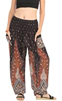 CandyHusky Elastic Waist Loose Fit Baggy Gypsy Hippie Boho Yoga Harem Pants