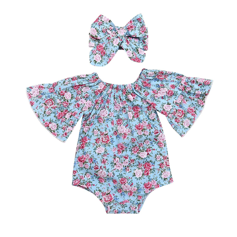 Newborn Infant Baby Girl Floral Romper Bodysuit Jumpsuit Headband Summer Clothes