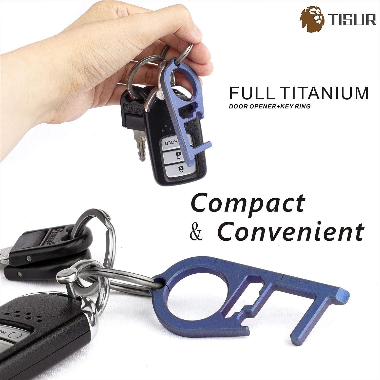 Grey TISUR Titanium No-Touch Door Opener Multipurpose Elevator Button Pusher Portable EDC Multitool for Outdoor Public