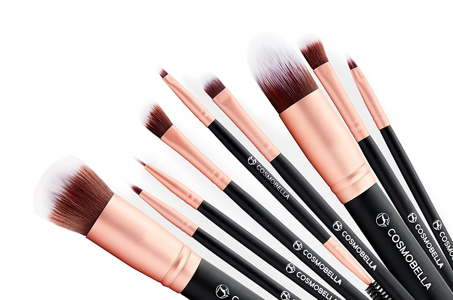 Cosmobella Premium Synthetic Kabuki Makeup Brush Set | Includes Foundation Brushes, Concealers, Eye Shadows, Eye Liner | Ultra Soft, Silky, Firm, Non-Shedding | Luxury Black & Rose Gold (14Pcs)