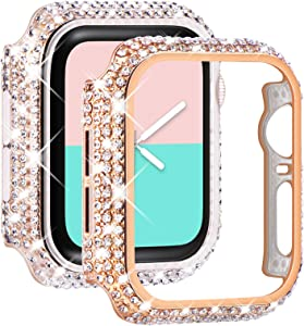 NewWays 2-Pack Bling Cases Compatible for Apple Watch Case 38mm 40mm 42mm 44mm, Fully Paved Diamonds Protective Bumper for iWatch SE Series 6 5 4 3 2 1 (40mm, Rose Gold+Clear)