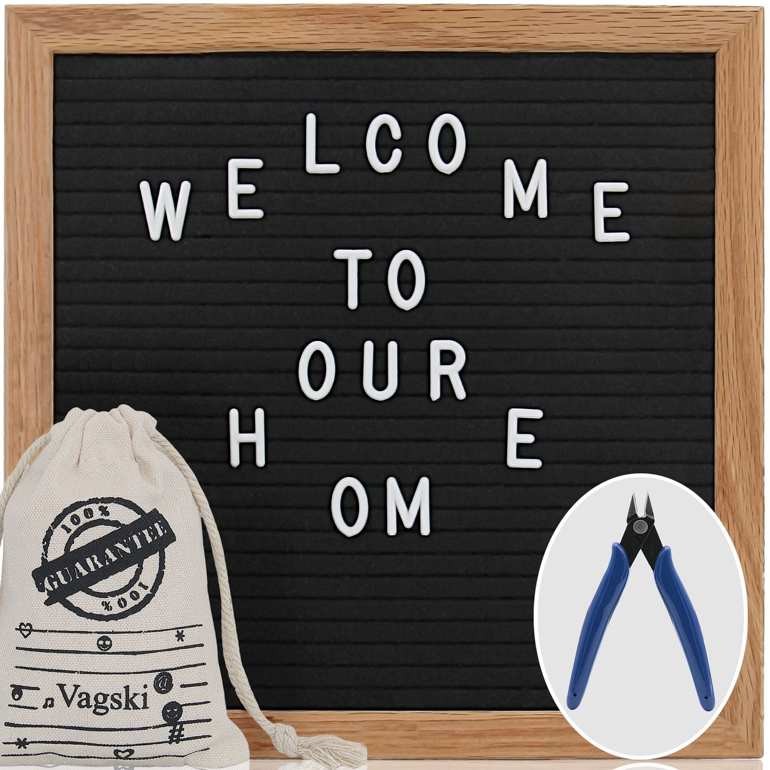 Letter Board - 10'' x 10'' Black Felt Letter Board with 400 Letters, Changeable Letter Board 10x10 Word Board,Business Message Board, Letter Sign with Mounting Hook Canvas Bag +Cute Scissors VAG021 by Vagski