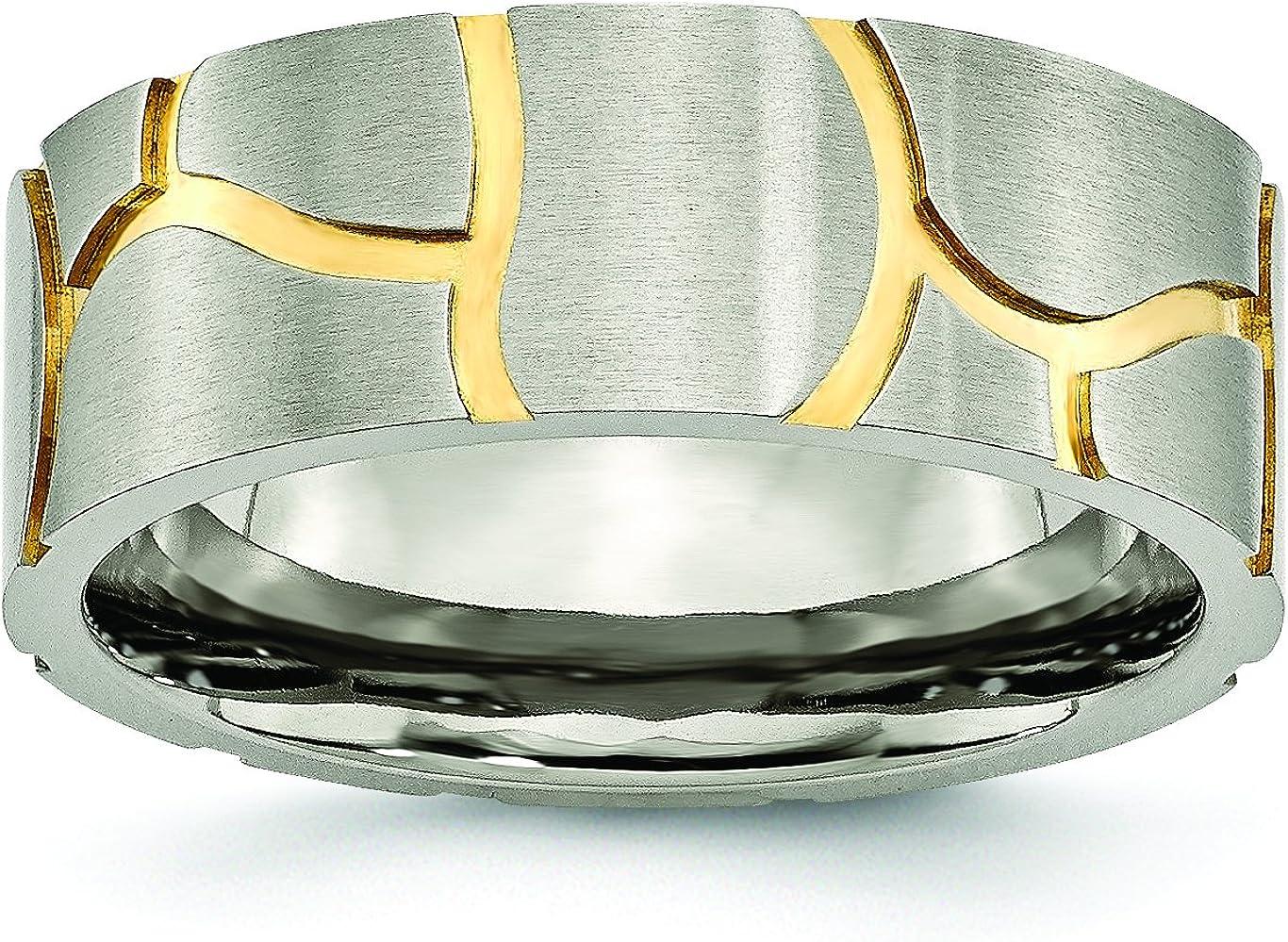 8mm Grooved Yellow Plated Brushed Finish Textured Designer Titanium Wedding Band