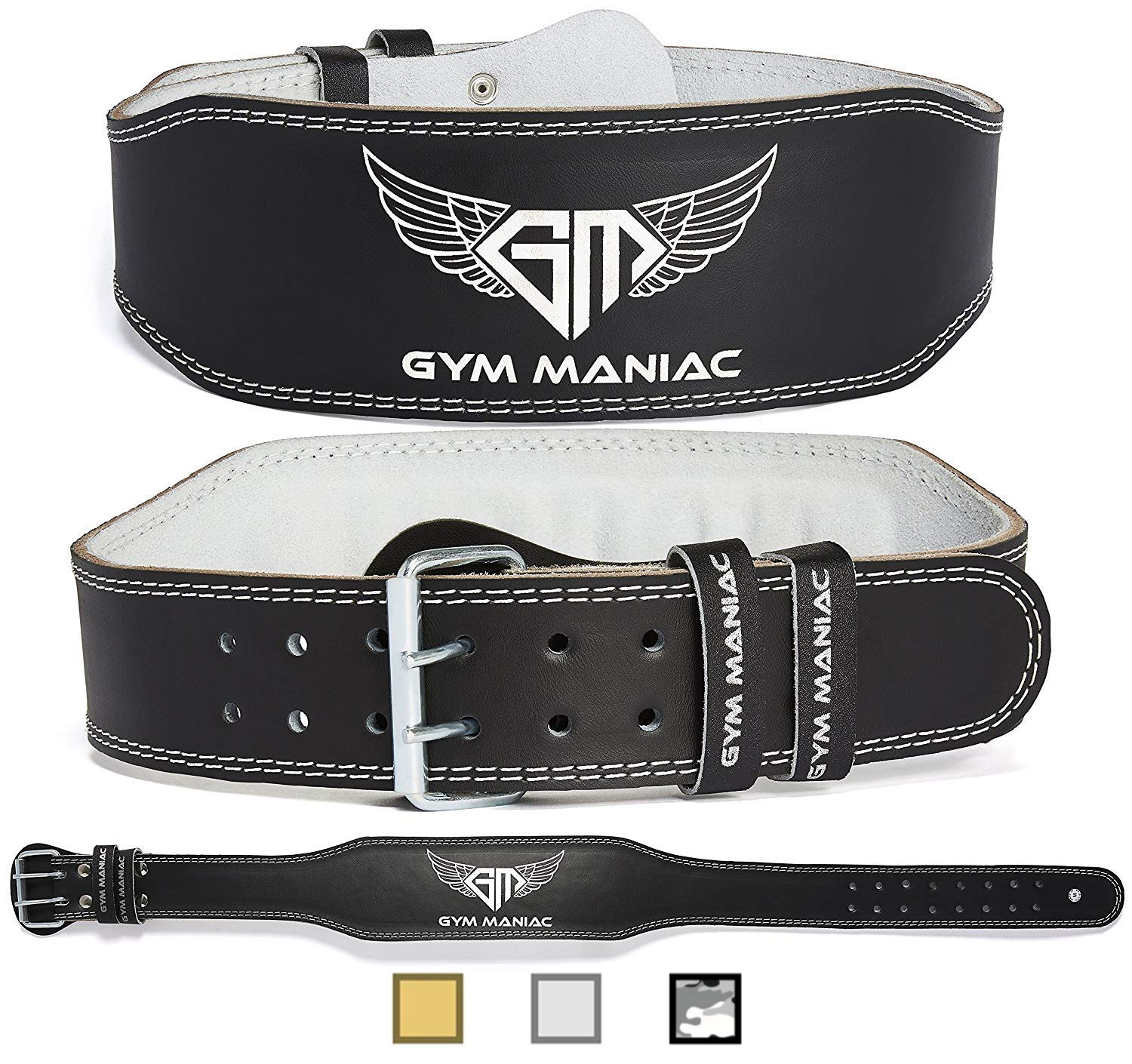 Gym Maniac Weight Lifting Waist Gym Belt | Adjustable Size, 2 Prong Buckle, Comfy Suede, Reinforced Stitching | Support Your Back & Alleviate Pains (Silver, Small)