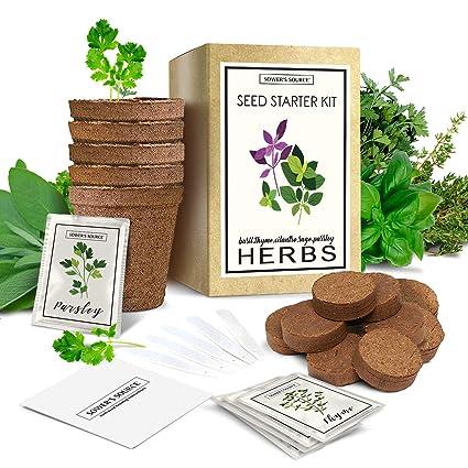 Herb Garden Starter Kit (Indoor) Natural, Organic Planting | Pots, Markers,