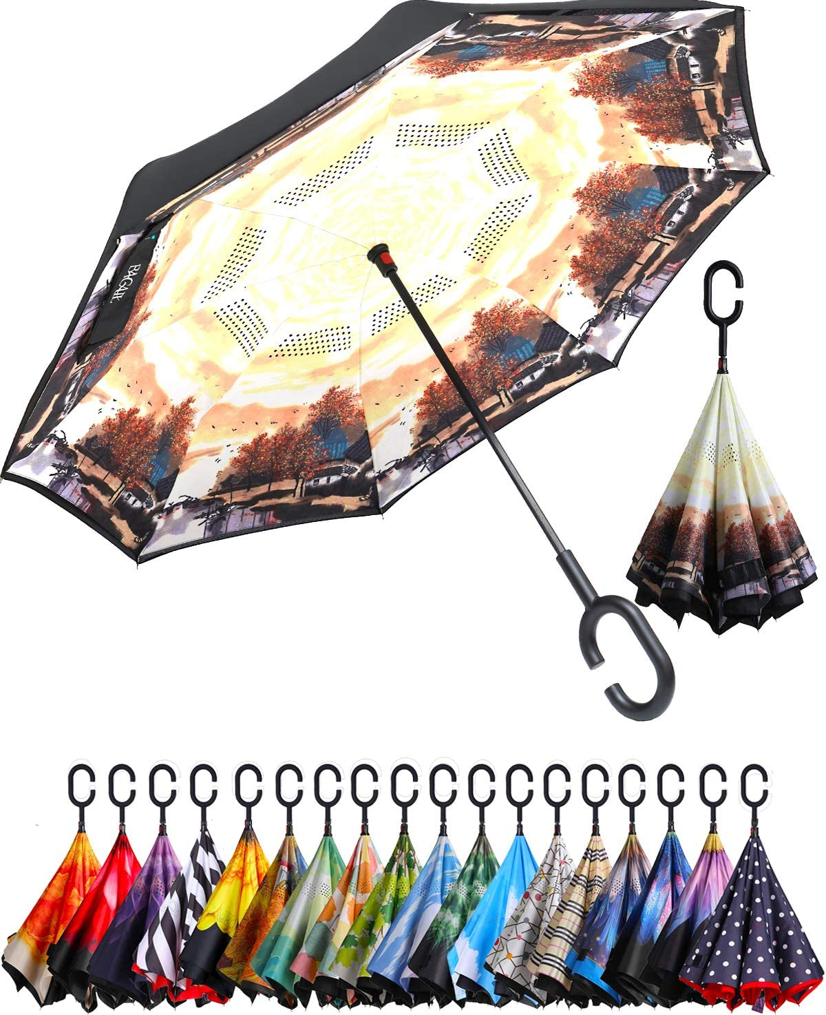 Christmas Large Inverted Double Layer Reverse Folding Umbrella Windproof UV Protection Self-Standing