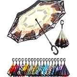 BAGAIL Double Layer Inverted Umbrellas Reverse Folding Umbrella Windproof UV Protection Big Straight Umbrella for Car…