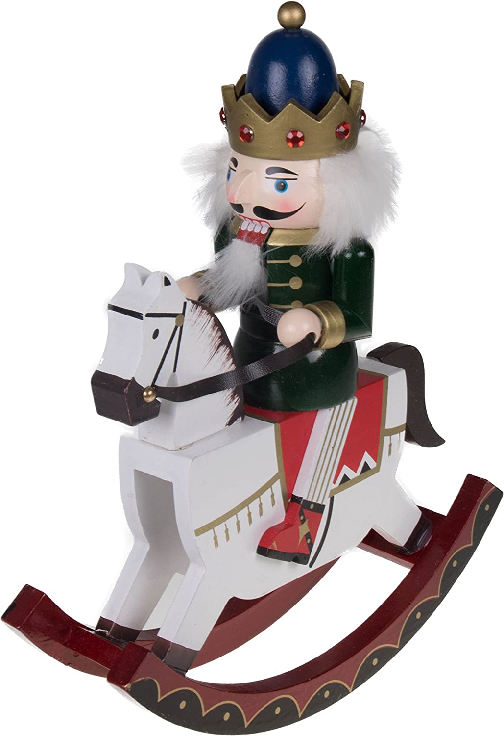 "Clever Creations King Nutcracker Rocking Horse Collectible Wooden Christmas Nutcracker | Festive Holiday Decor | Riding White Rocking Horse | 100% Wood | 12"" Tall (Blue and Gold)"