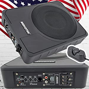 "Audiotek 10"" 400W RMS Slim Under-Seat Active Power Audio Car/Truck Subwoofer SUB"