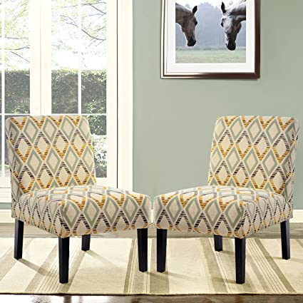 Harper & Bright Designs LE Upholstered Accent Armless Living Room Chair Set  of 2 (Beige/Diamond)