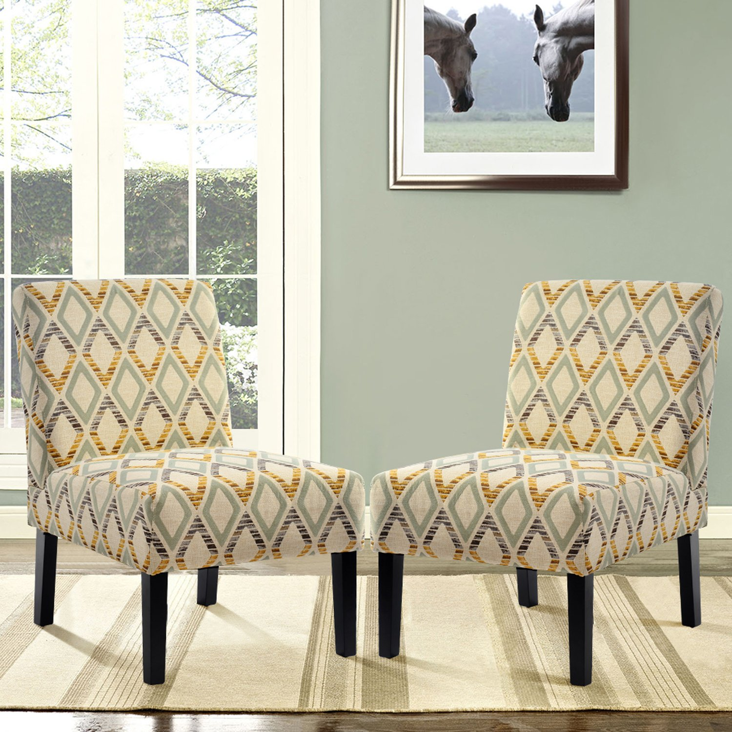 Harper&Bright Designs Upholstered Accent Chair Armless Living Room Chair Set of 2 (Beige/Diamond)
