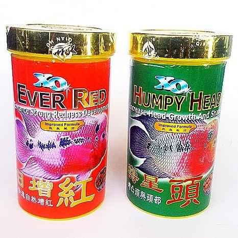 Set 120 g Humpy Head Ever Red Size M Pellets Ocean Free Xo Flowerhorn Fish  Food